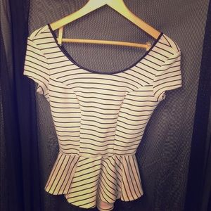 Black and Cream Striped Tailored Peplum Blouse